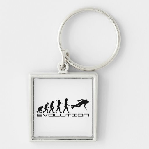 Scuba Diver Diving Water Sport Evolution Art Silver-Colored Square Keychain