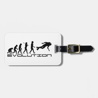 Scuba Diver Diving Water Sport Evolution Art Luggage Tag