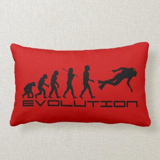 Scuba Diver Diving Water Sport Evolution Art Lumbar Pillow