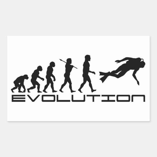 Scuba Diver Diving Water Sport Evolution Art Rectangular Sticker