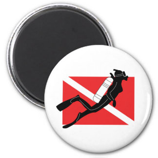 SCUBA Diver Down Flag With Female Diver Magnet