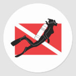SCUBA Diver Down Flag With Female Diver Round Stickers