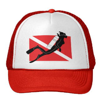 SCUBA Diver Down Flag With Female Diver Trucker Hat