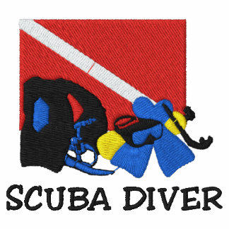 SCUBA Diver Embroidered Sweatshirt Embroidered Hooded Sweatshirts