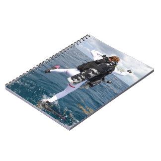 Scuba Diver Jump Spiral Note Book
