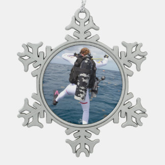 Scuba Diver Jump Snowflake Pewter Christmas Ornament