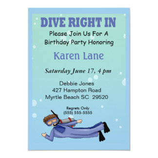 Scuba Diver  Kids Birthday Invitation