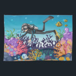 """Scuba Diver kitchen towel<br><div class=""""desc"""">Original image by freepik.com (used with license),  modified by me. See my store for more items with this image.</div>"""