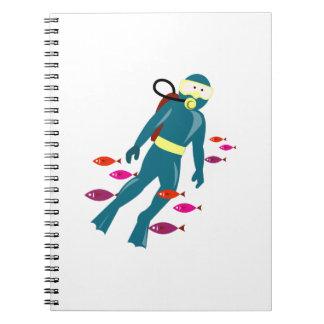 Scuba Diver Spiral Note Books
