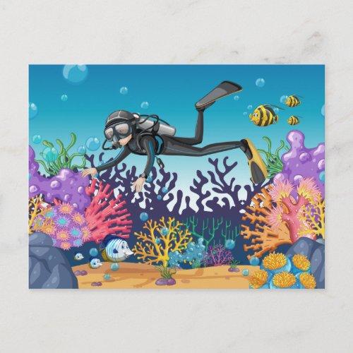 Scuba Diver postcard