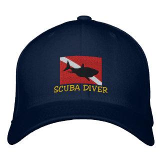 SCUBA Diver Shark Down Flag Embroidered Cap