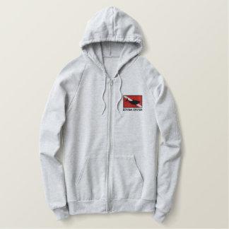 SCUBA Diver Shark Down Flag Embroidered Sweatshirt