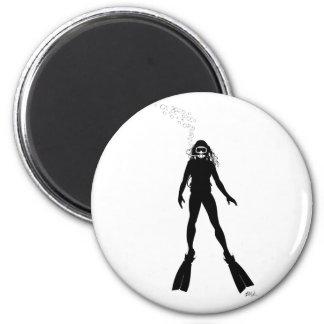 Scuba Diver Silhouette (Woman) 2 Inch Round Magnet