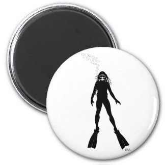 Scuba Diver Silhouette (Woman) Refrigerator Magnets
