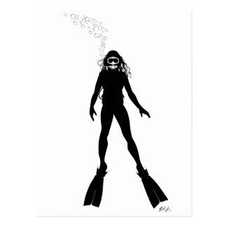 Scuba Diver Silhouette (Woman) Post Card