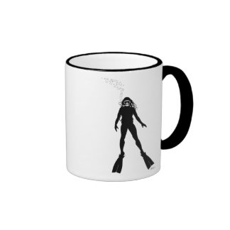 Scuba Diver Silhouette (Woman) Ringer Mug