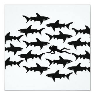 Scuba Diver Swimming with a School of Sharks Card