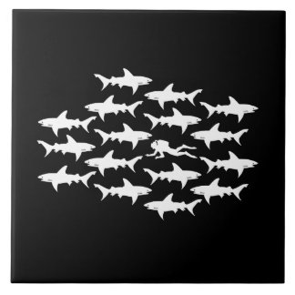 Scuba Diver Swimming with a School of Sharks Ceramic Tile