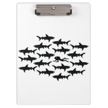 Scuba Diver Swimming with a School of Sharks Clipboard