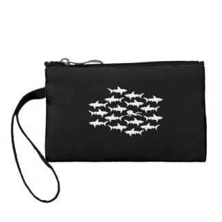Scuba Diver Swimming with a School of Sharks Coin Wallet
