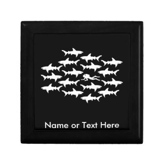 Scuba Diver Swimming with a School of Sharks Gift Box