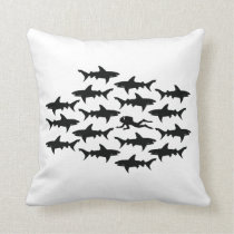 Scuba Diver Swimming with a School of Sharks Throw Pillow