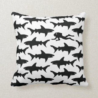Scuba Diver Swimming with School of Sharks Throw Pillows