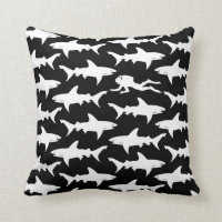 Scuba Diver Swimming with School of Sharks Throw Pillow
