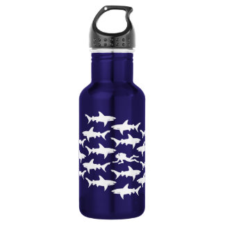 Scuba Diver Swimming with Sharks Funny Water Bottle