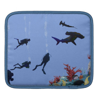 SCUBA divers and sharks iPad Sleeves
