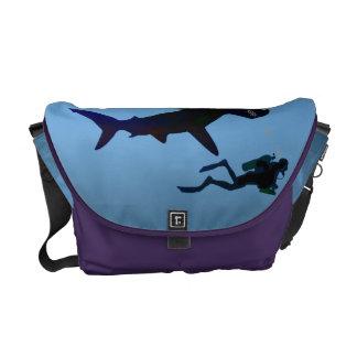 SCUBA divers and sharks Messenger Bags