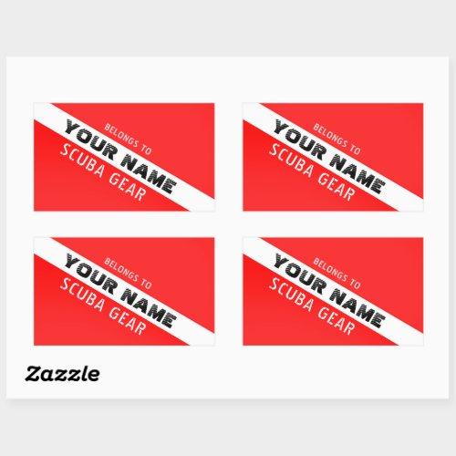 SCUBA DIVERS PERSONAL SCUBA GEAR  NAME RED FLAG RECTANGULAR STICKER