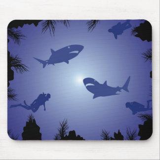 Scuba Divers & Sharks Pattern Mouse Pad