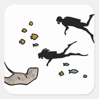 Scuba Divers Square Sticker