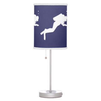 SCUBA DIVERS White on blue Desk Lamp