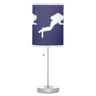 SCUBA DIVERS White on blue Table Lamps