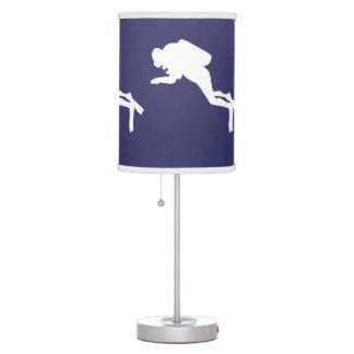 SCUBA DIVERS White on blue Table Lamp