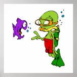 Scuba Diving Alien Poster