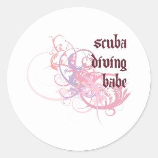 Scuba Diving Babe Round Sticker