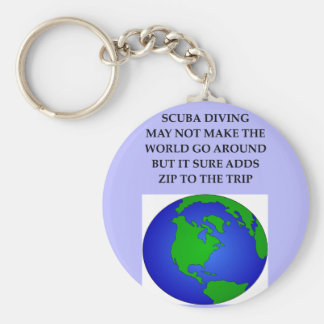 scuba diving basic round button keychain