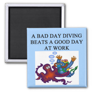 scuba diving design 2 inch square magnet