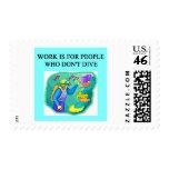 scuba diving design postage stamps