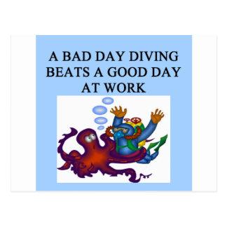 scuba diving design postcard