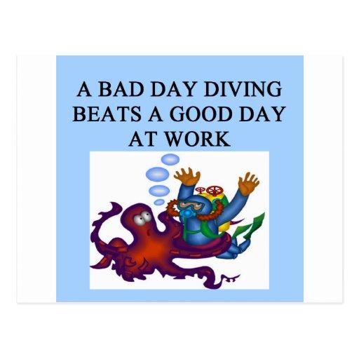 scuba diving design postcards