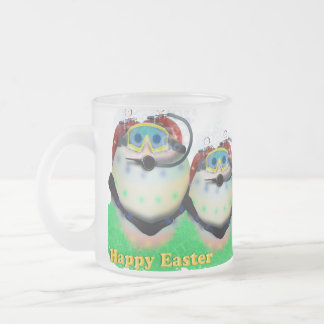 Scuba Diving Easter Eggs 10 Oz Frosted Glass Coffee Mug