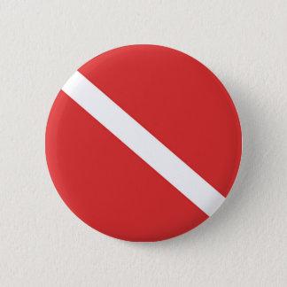 Scuba Diving Flag - Divers Emblem Red White Button