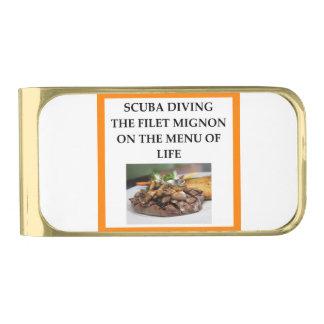 scuba diving gold finish money clip