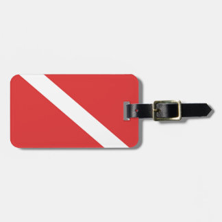 Scuba Diving Logo- Diver's Red White Flag Tag For Luggage