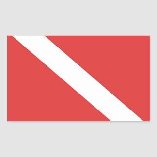 Scuba Diving Logo- Diver's Red White Flag Rectangular Sticker
