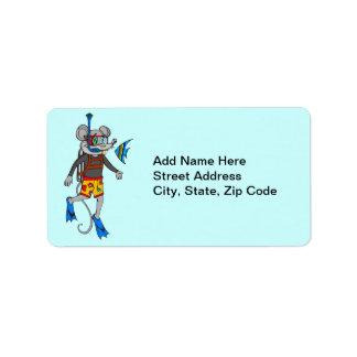 Scuba Diving Mouse Address Label